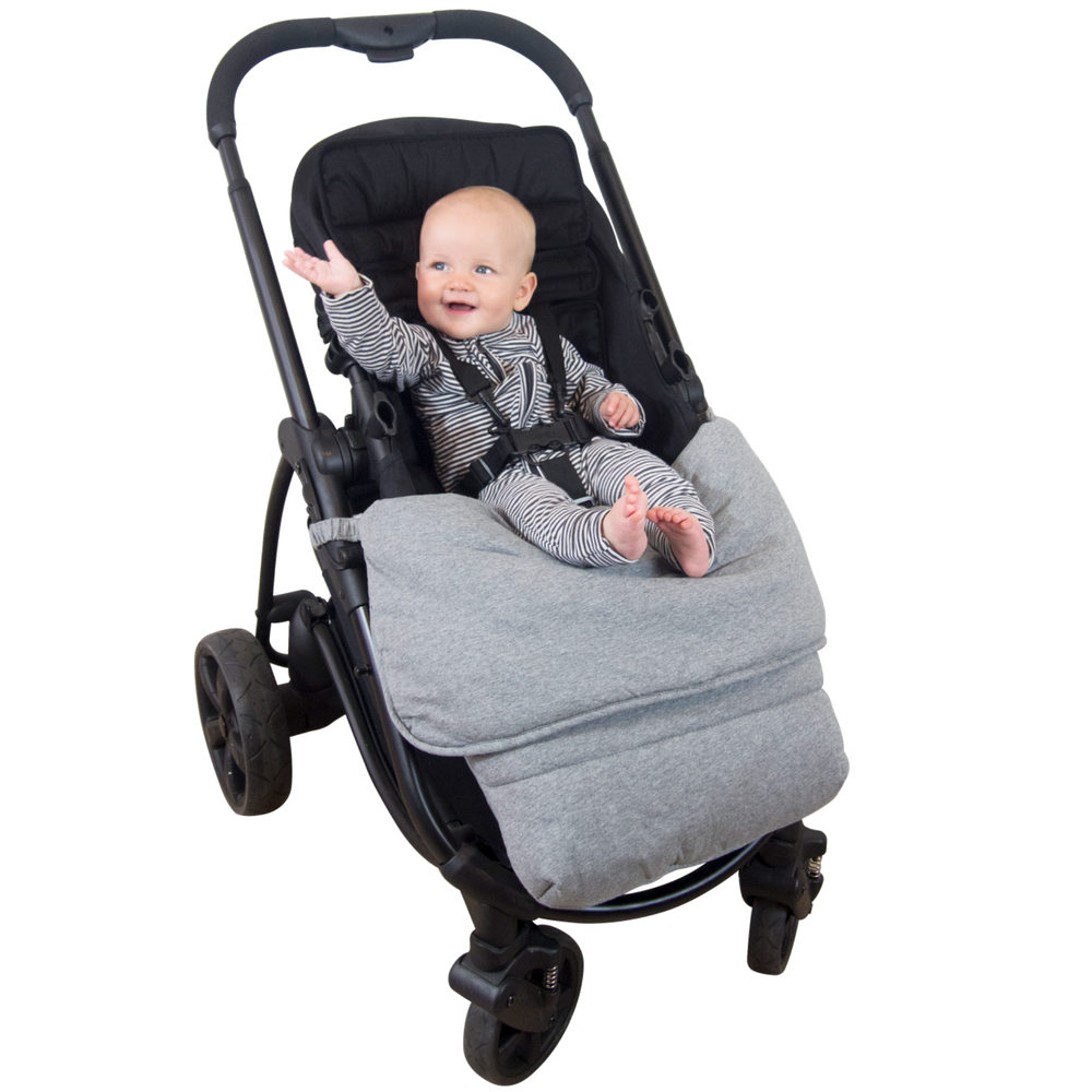 Stay Put Jersey Cotton Pram Quilt - Grey Marle - Outlook Baby