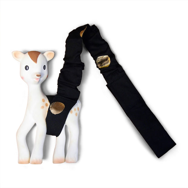 Foil Print Toy Strap - Black/Gold Spots - Outlook Baby