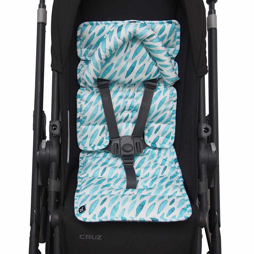 Mini Pram Liner w Head Support - Teal Drops