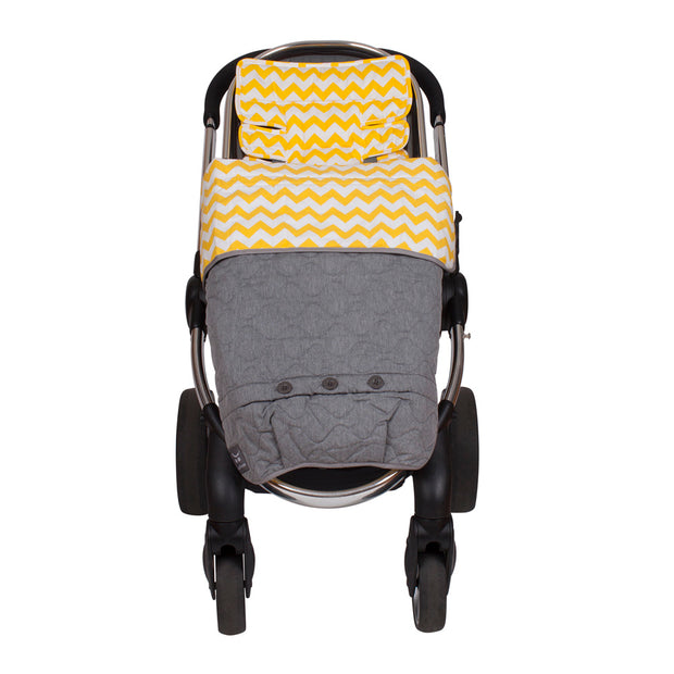 Pram Quilt/ Footmuff - Yellow Chevron
