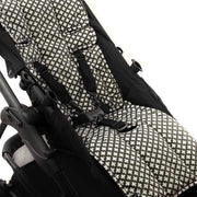 Cotton + Cotton Pram Liner - Charcoal with White Crosses-Pram Liner-Outlook Baby