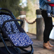 Cotton + Cotton Pram Liner - Navy with White Whales-Pram Liner-Outlook Baby