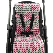 Cotton + Cotton Pram Liner - Pink/ Charcoal/ White Mini Chevron-Pram Liner-Outlook Baby
