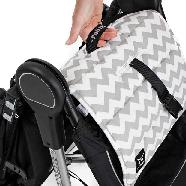 Cotton Pram Liner - Grey Chevron-Cotton Pram Liner-Outlook Baby