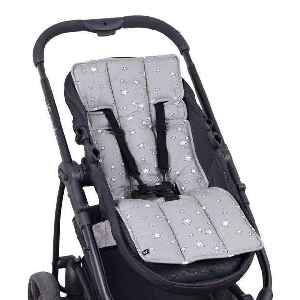 Cotton Pram Liner - Grey Stars-Cotton Pram Liner-Outlook Baby
