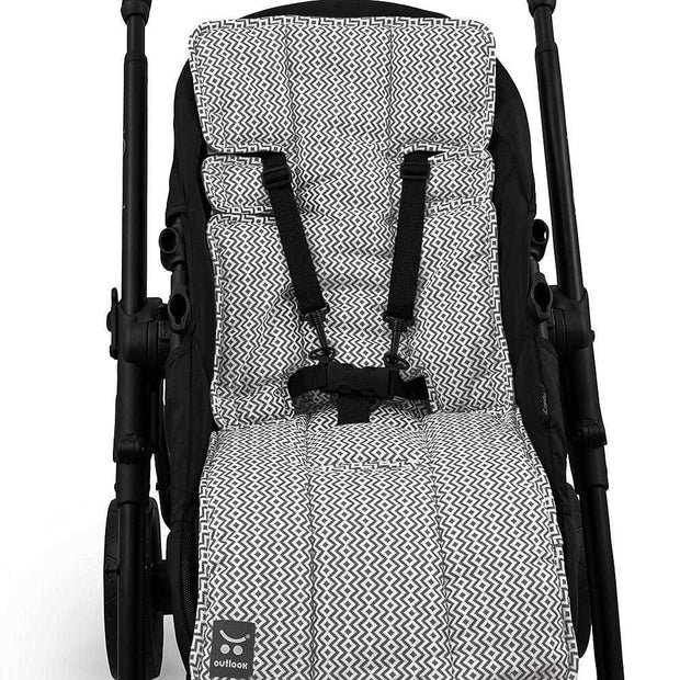 Easyfit Cotton Pram Liner - Charcoal Aztec-Cotton Pram Liner-Outlook Baby