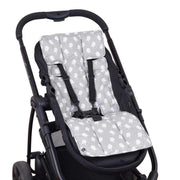 Easyfit Cotton Pram Liner - Grey with White Birds-Cotton Pram Liner-Outlook Baby