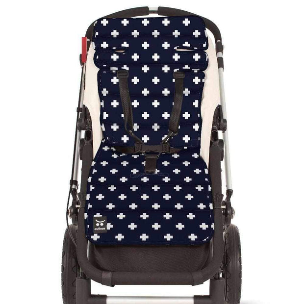 Easyfit Cotton Pram Liner - Navy Crosses-Cotton Pram Liner-Outlook Baby