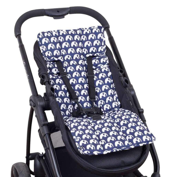 Easyfit Cotton Pram Liner - Navy with White Elephants-Cotton Pram Liner-Outlook Baby