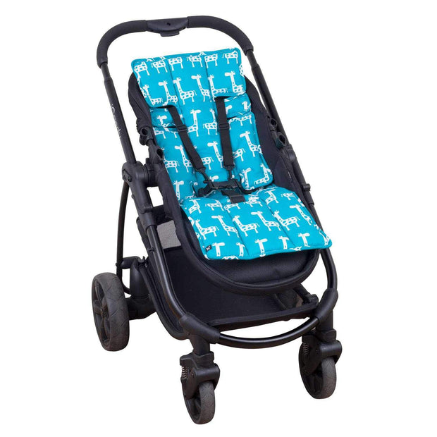 Easyfit Cotton Pram Liner - Teal Giraffe-Cotton Pram Liner-Outlook Baby