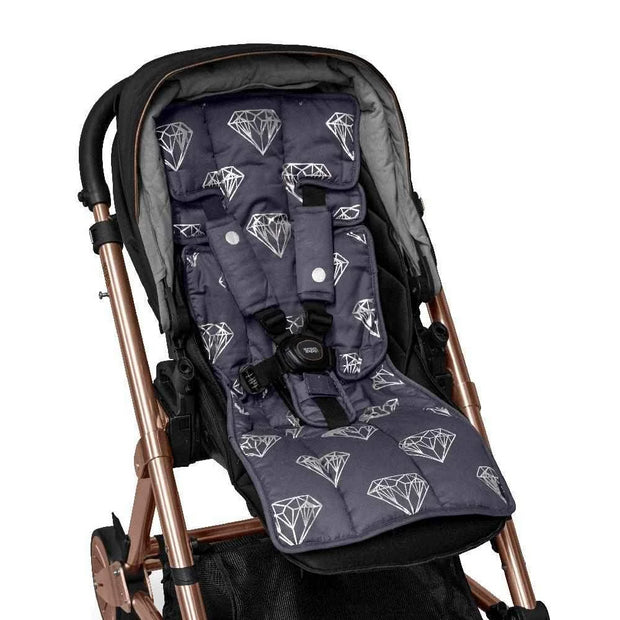 Pram Liner - Charcoal Silver Diamonds/Spots - Outlook Baby