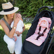 Foil Print Head Support with Pram Liner - Peach/Gold Spots-Mini liner with head support-Outlook Baby