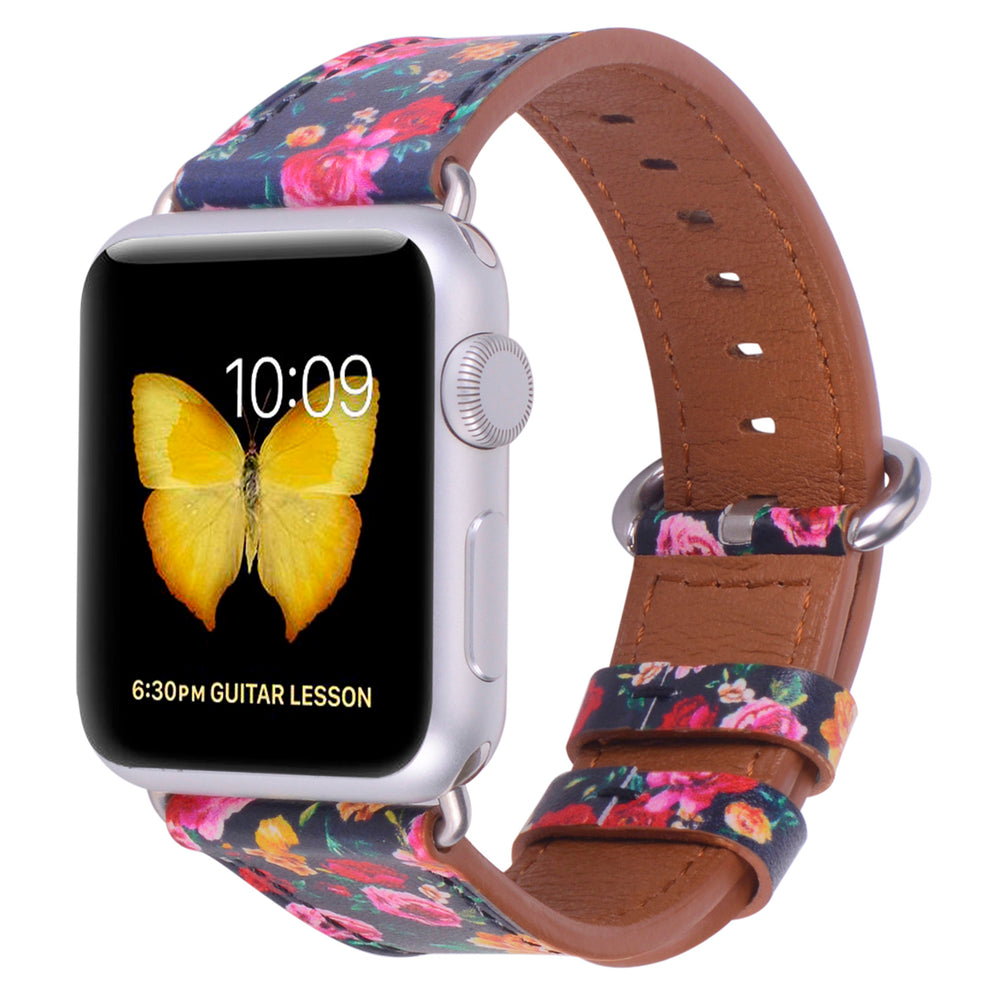 Apple watch band 38mm 40mm Black/Pink Floral Printed