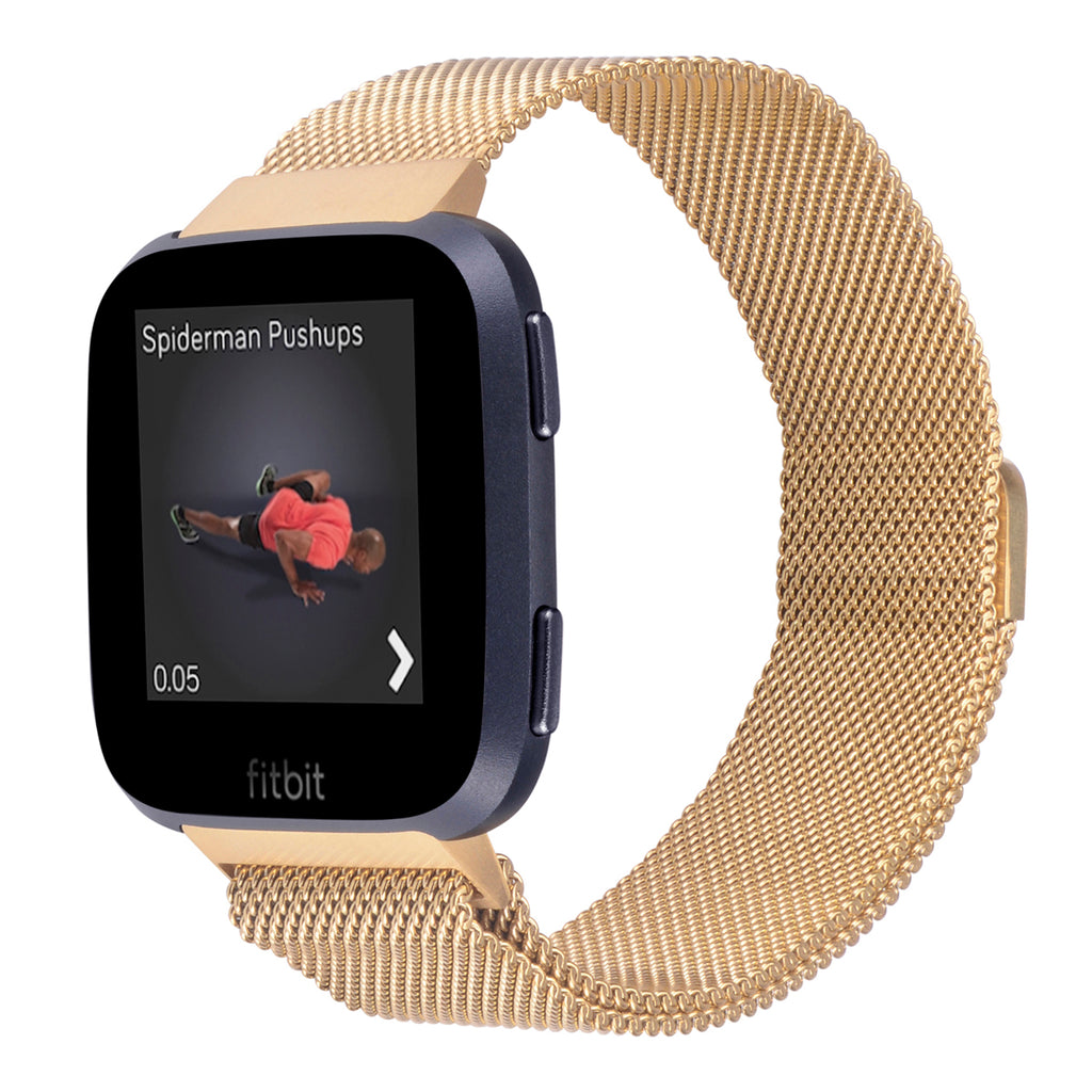 Fitbit Versa Bands Stainless Steel Metal Magnetic Milanese Loop-Gold