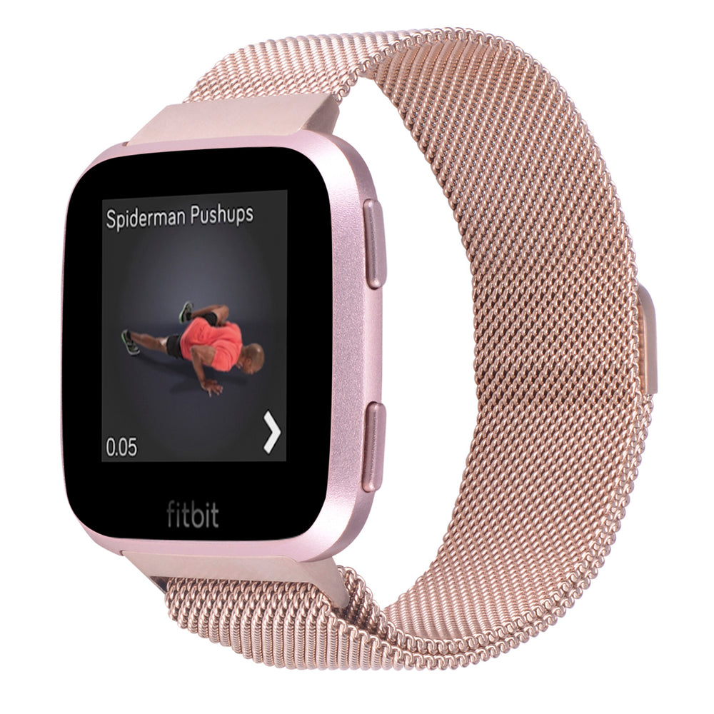 Fitbit Versa Bands Stainless Steel Metal Magnetic Milanese Loop-Rose gold