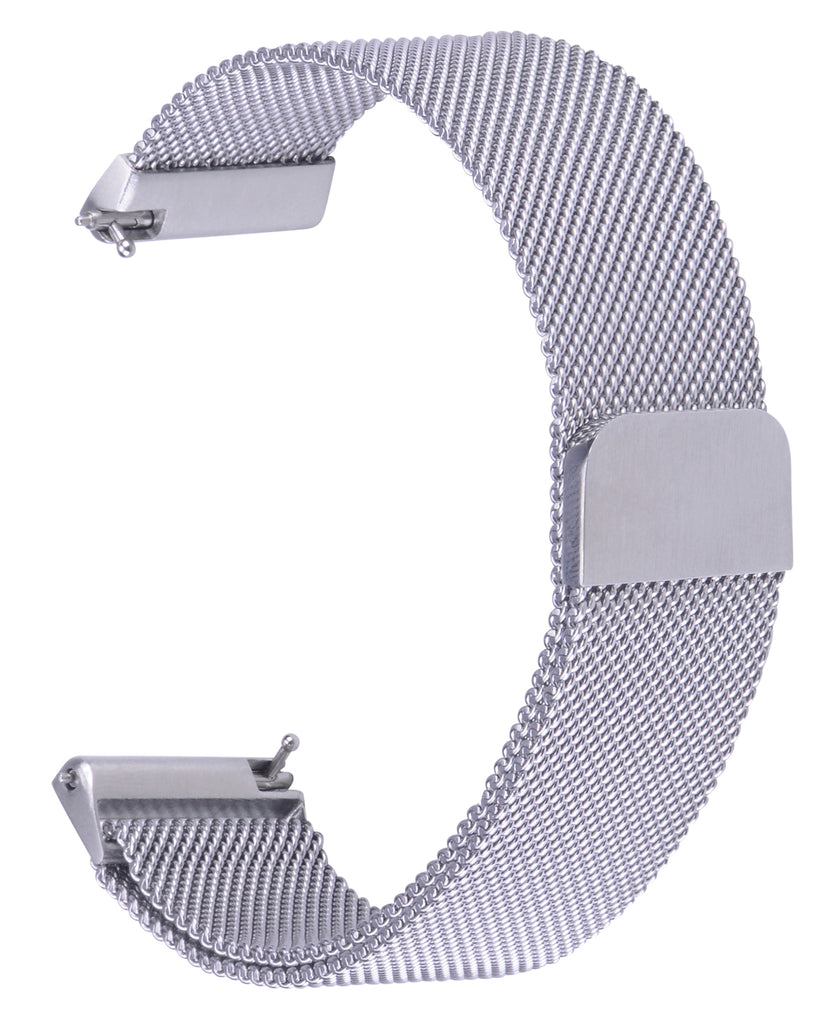 Fitbit Versa Bands Stainless Steel Metal Magnetic Milanese Loop-Silver