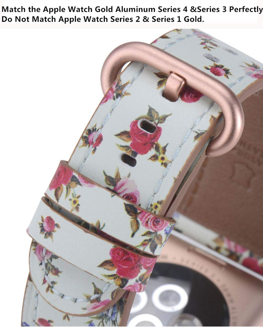 Apple watch band 38mm 40mm Mint/Pink Rose Floral