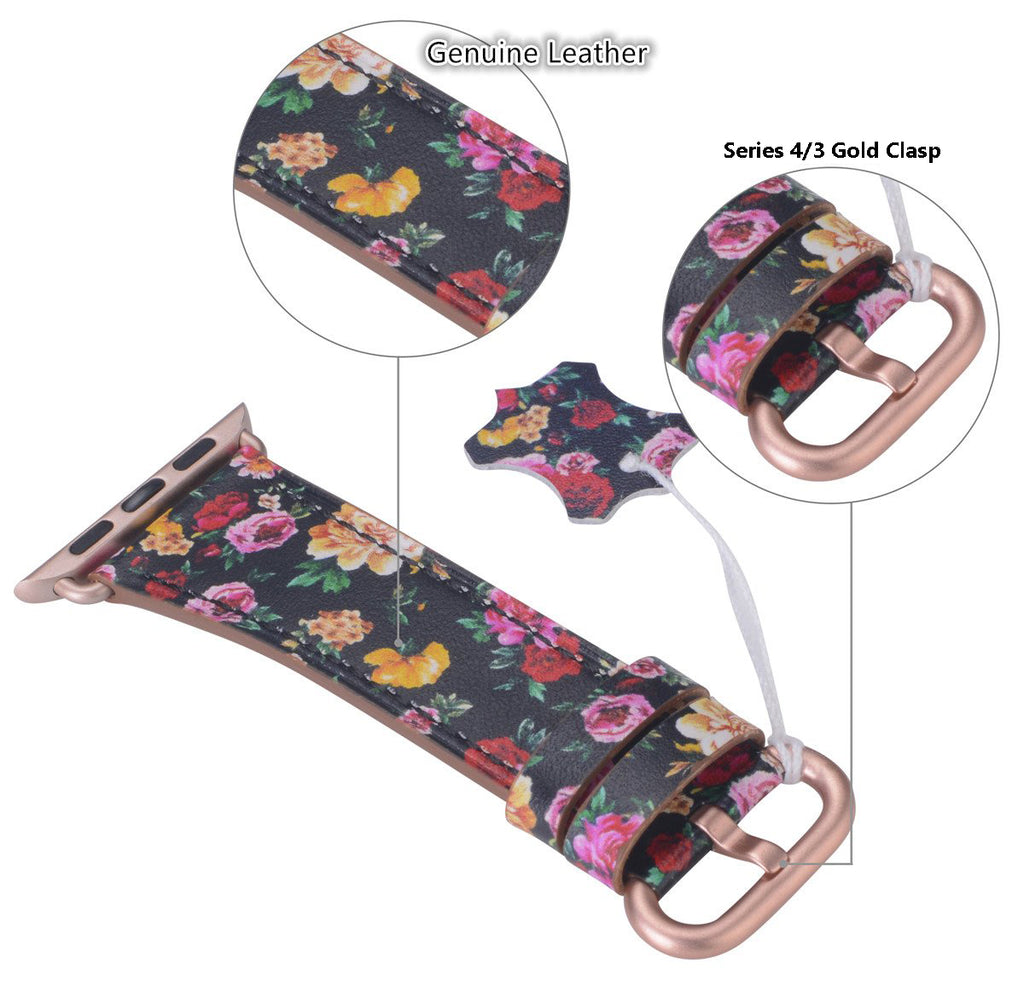 Apple watch band 38mm 40mm 42mm 44mm Black/Pink Floral