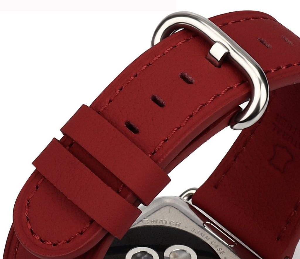 JSGJMY Compatible with Iwatch Band 38mm 40mm S/M Women Genuine Leather Replacement Strap Compatible with Series 4 - Sport Edition, Dark Red