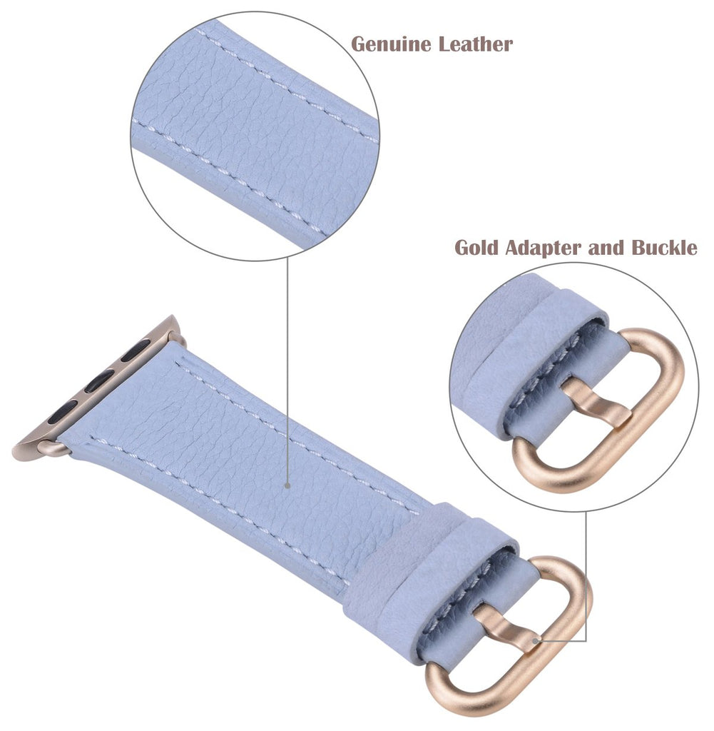 JSGJMY Compatible with Iwatch Band 38mm 40mm Women Genuine Leather Loop Replacement Strap Compatible with Iwatch Series - Sky Blue+Gold Buckle