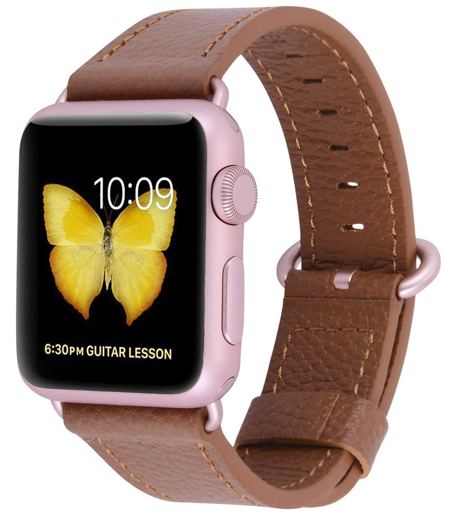 JSGJMY Compatible with Iwatch Band 38mm 40mm Women Genuine Leather Loop Replacement Strap Compatible with Iwatch Series - Light Brown+Rose Gold Buckle