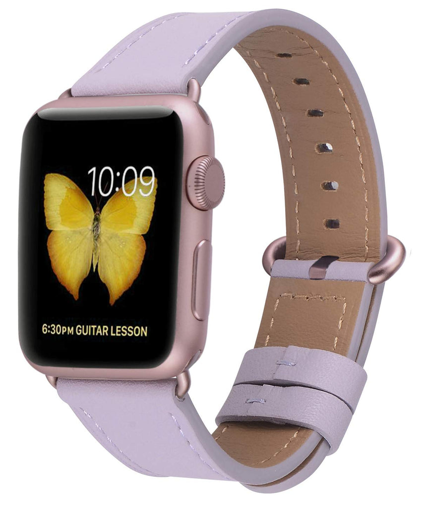 JSGJMY Compatible with Iwatch Band 38mm 40mm Women Genuine Leather Loop Replacement Strap Compatible with Iwatch Series - Lavender+Rose Gold Buckle