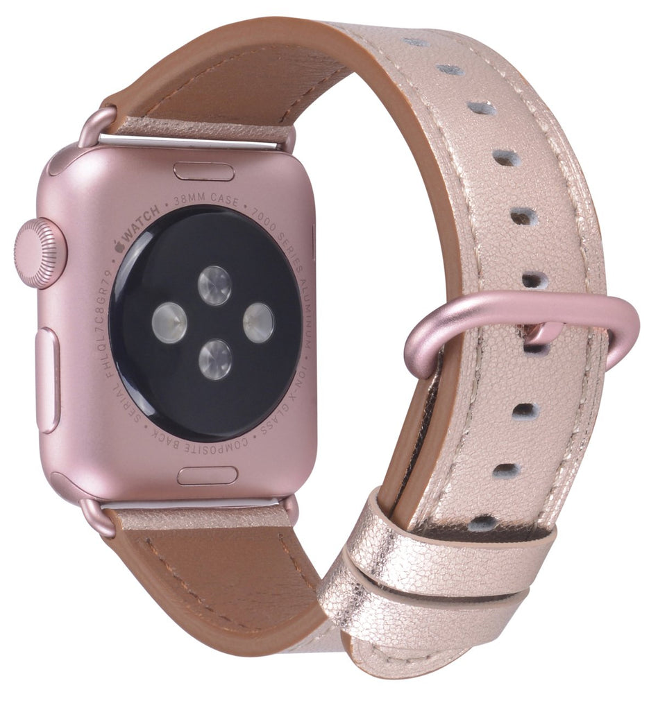 JSGJMY Compatible with Iwatch Band 38mm 40mm Women Genuine Leather Loop Replacement Strap Compatible with Iwatch Series - Glitter Bronze+Rose Gold Buckle