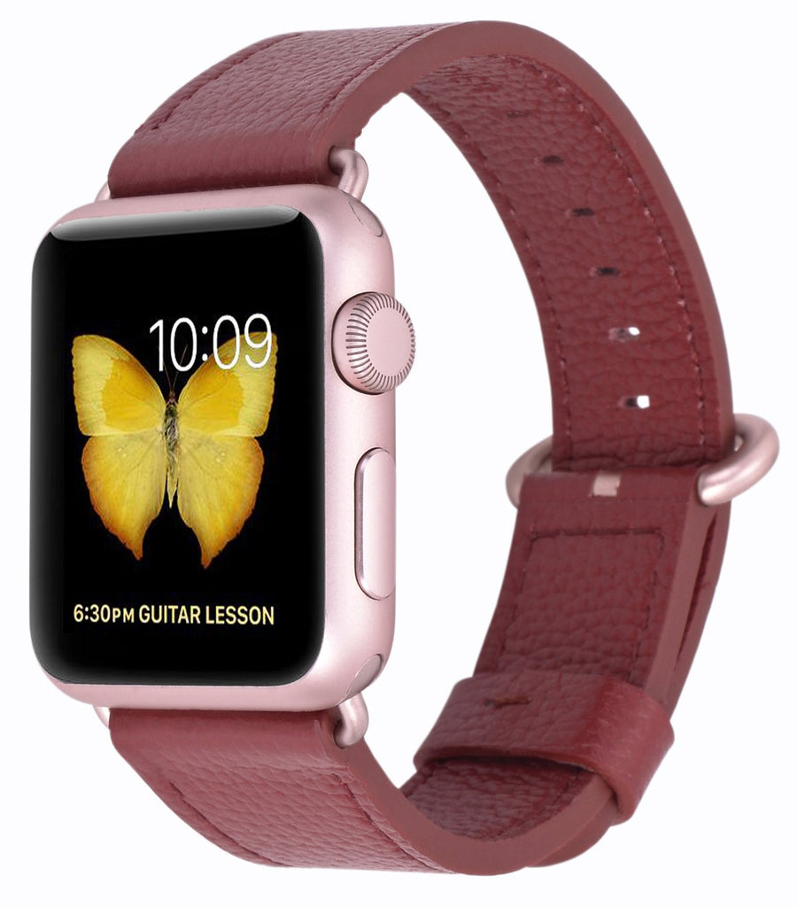 JSGJMY Compatible with Iwatch Band 38mm 40mm Women Genuine Leather Loop Replacement Strap Compatible with Iwatch Series - Red+Rose Gold Clasp