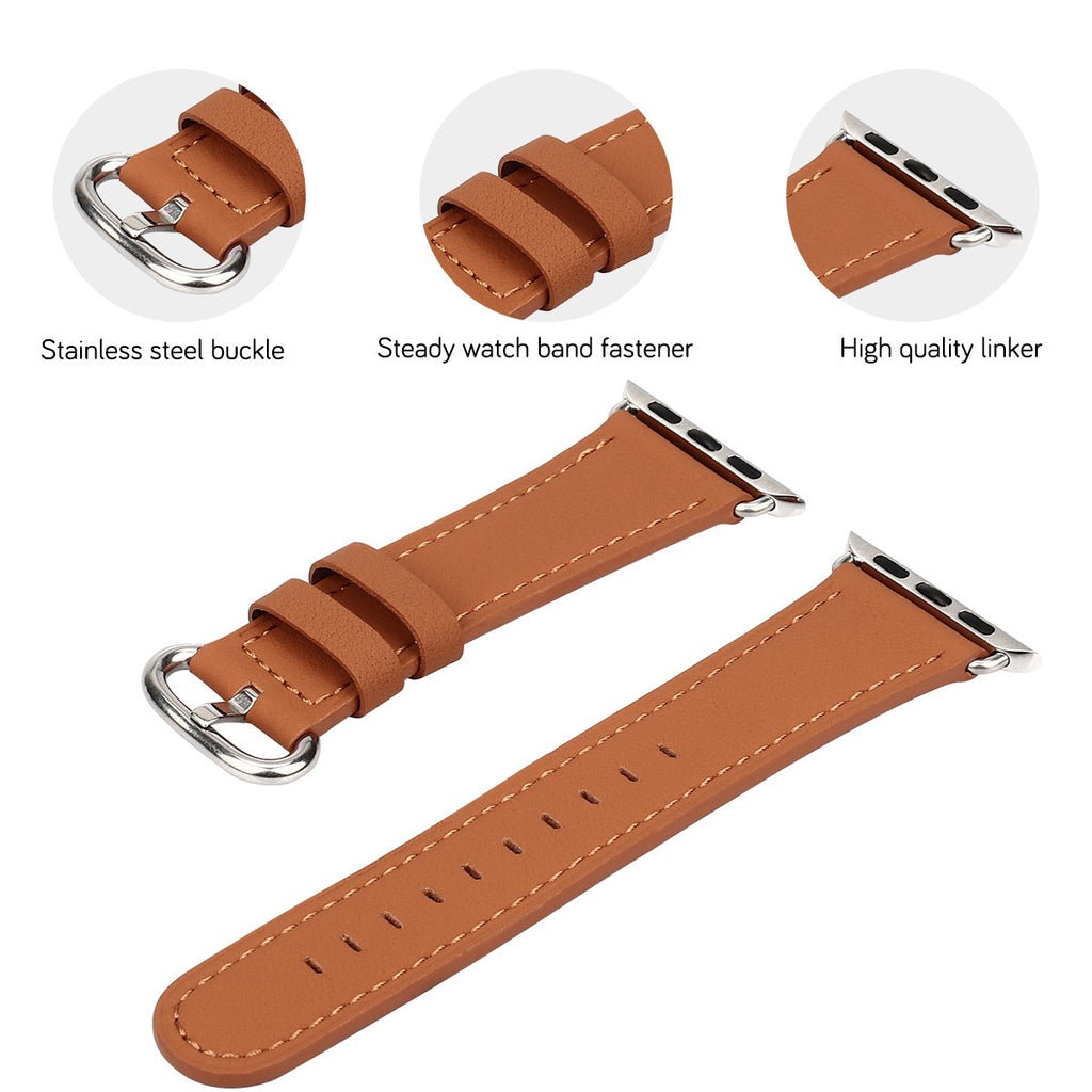 JSGJMY Compatible with Iwatch Band 38mm 40mm S/M Women Genuine Leather Replacement Strap Compatible with Series 4 - Sport Edition, Earth Yellow