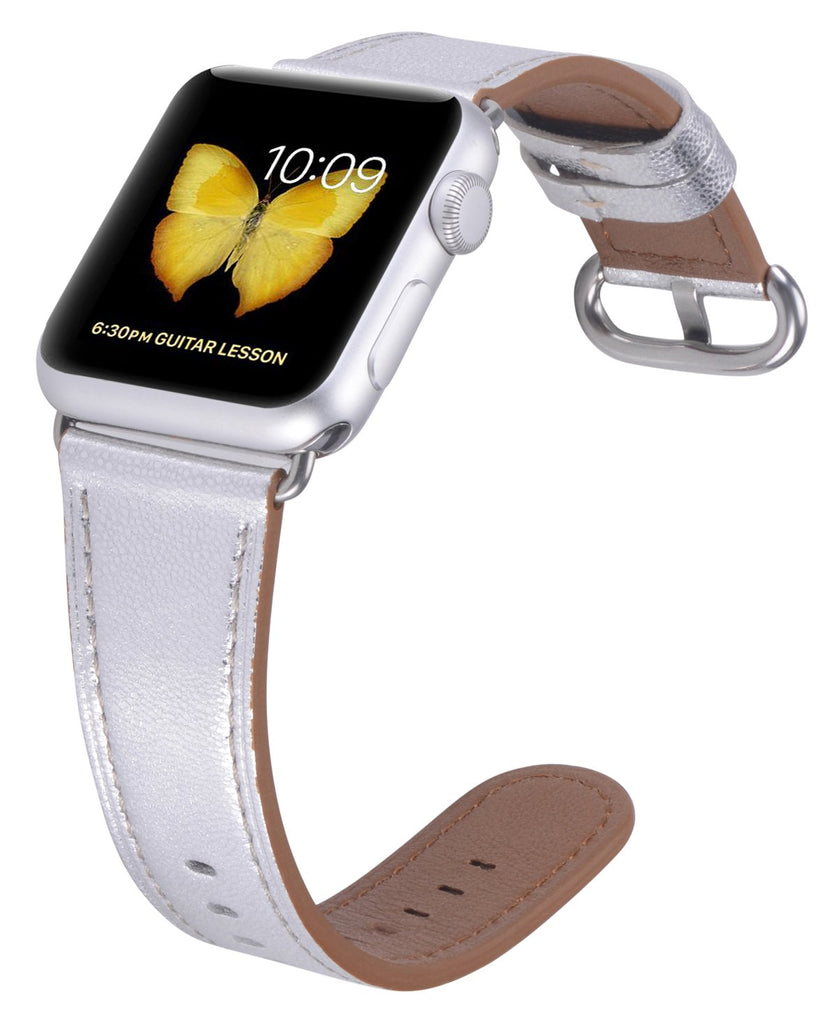JSGJMY Compatible with Iwatch Band 38mm 40mm Women Genuine Leather Loop Replacement Strap Compatible with Iwatch Series - Silver+Stainless Steel Clasp