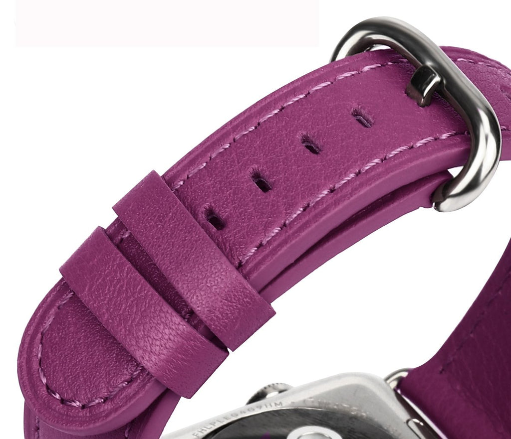 JSGJMY Compatible with Iwatch Band 38mm 40mm S/M Women Genuine Leather Replacement Strap Compatible with Series 4 - Sport Edition, Purple