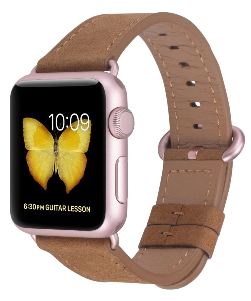 JSGJMY Compatible with Iwatch Band 38mm 40mm Women Genuine Leather Loop Replacement Strap Compatible with Iwatch Series - Sandybrown Nubuck+Rose Gold Buckle