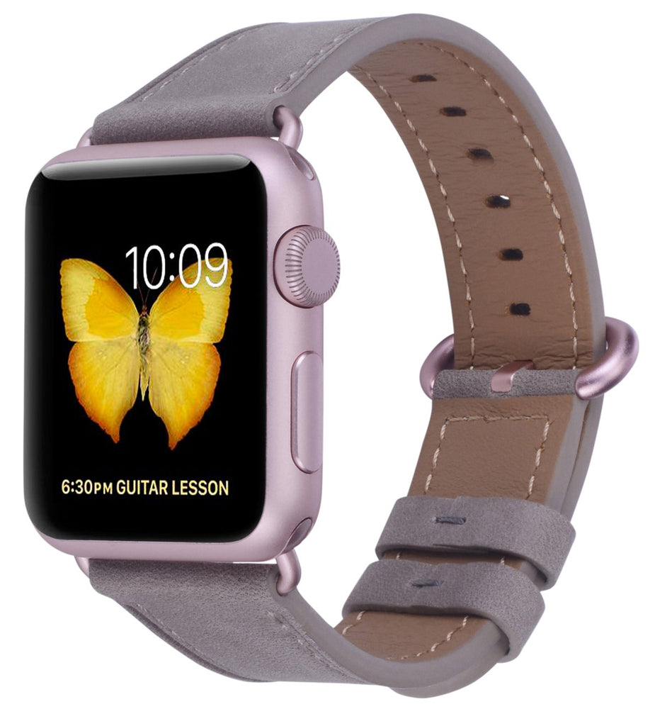 JSGJMY Compatible with Iwatch Band 38mm 40mm Women Genuine Leather Loop Replacement Strap Compatible with Iwatch Series - Etoupe+Rose Gold Buckle