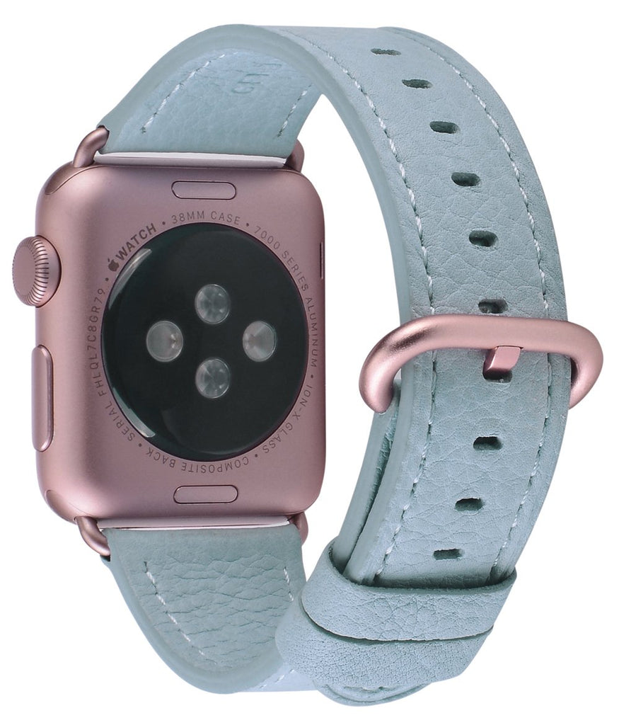 JSGJMY Compatible with Iwatch Band 38mm 40mm Women Genuine Leather Loop Replacement Strap Compatible with Iwatch Series - Sky Blue+Rose Gold Buckle