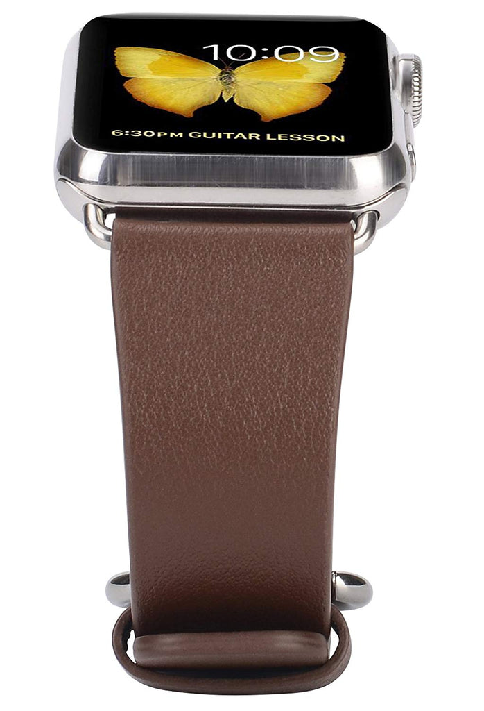 JSGJMY Compatible with Iwatch Band 38mm 40mm S/M Women Genuine Leather Replacement Strap Compatible with Series 4 - Sport Edition, Dark Brown