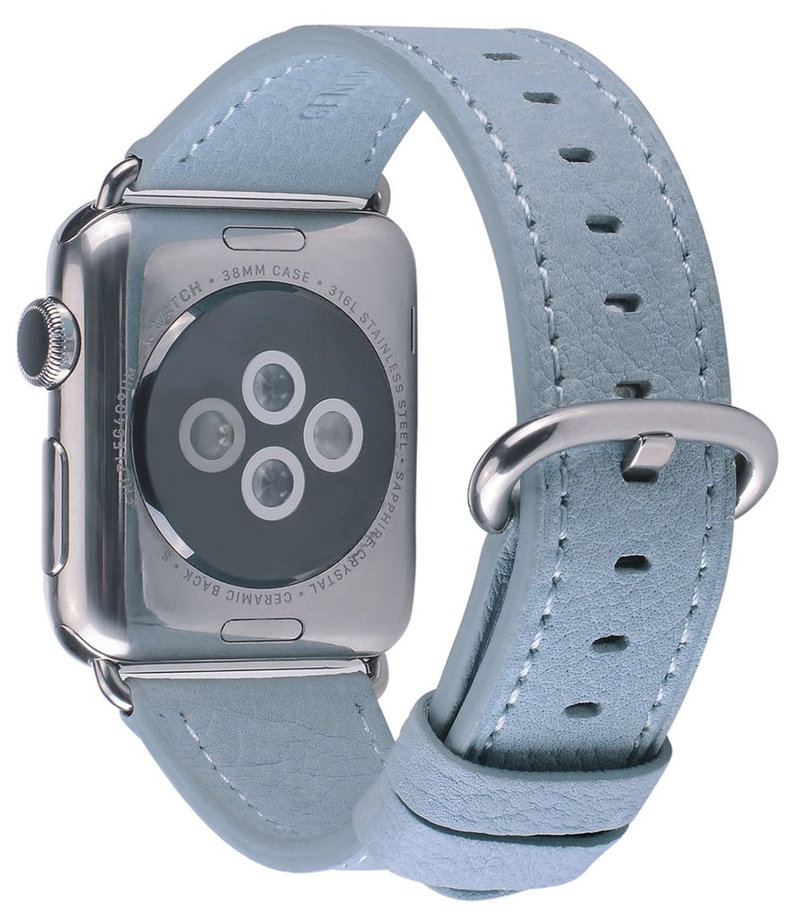 JSGJMY Compatible with Iwatch Band 38mm 40mm S/M Women Genuine Leather Replacement Strap Compatible with Series 4 - Sport Edition, Sky Blue