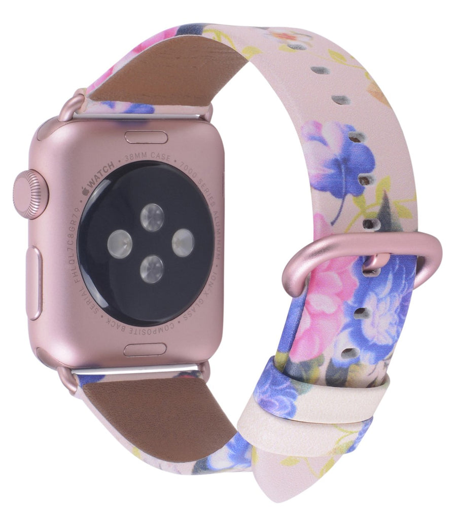 JSGJMY Compatible with Iwatch Band 38mm 40mm Women Genuine Leather Loop Replacement Strap Compatible with Iwatch Series - Pink/Blue Floral+Rose Gold Buckle