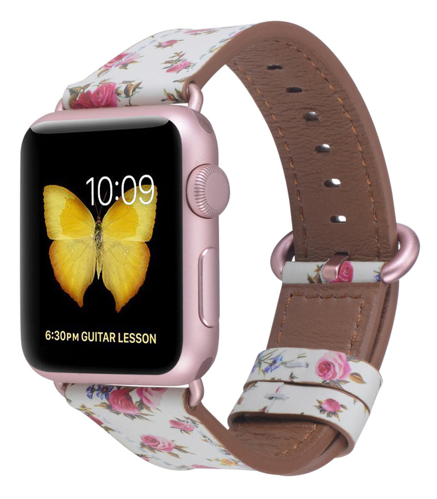 JSGJMY Compatible with Iwatch Band 38mm 40mm Women Genuine Leather Loop Replacement Strap Compatible with Iwatch Series - Mint/Pink Floral+Rose Gold Buckle