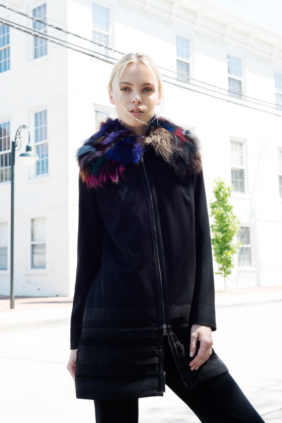 Fur Collar Knit Jacket - Vishal Enterprises Inc