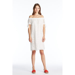 Off Shoulder White Lace eyelet Midi Dress - Vishal Enterprises Inc