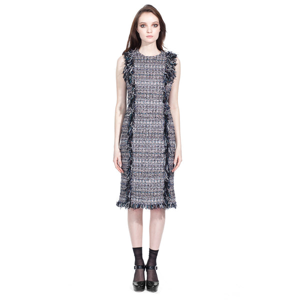 Boucle Hand Fringed Dress - Vishal Enterprises Inc