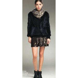 Metallic Scarf and Skirt with Fur Jacket - Vishal Enterprises Inc