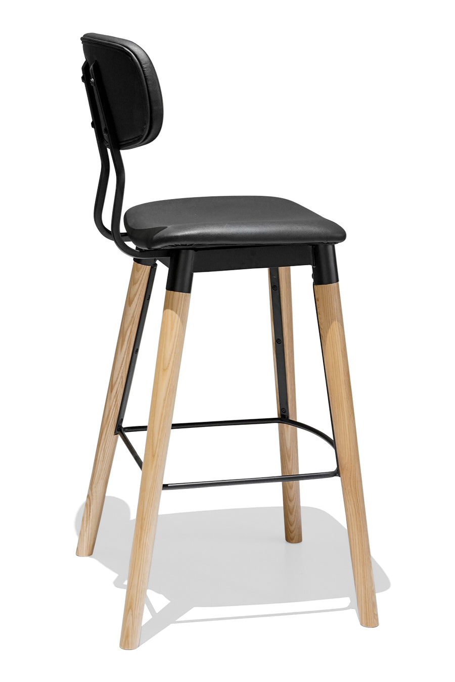 FRENCH INDUSTRIAL bar stool - Upholstered - Ash
