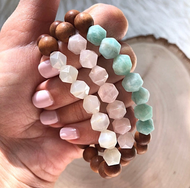 Handmade and Natural Yoga Bracelets Glow Designs Aromatic Sandalwood + Gemstone (Amazonite, Moonstone, Rose Quartz) Yoga/Meditation Mala Bracelet