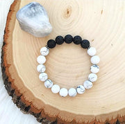 Handmade and Natural Yoga Bracelets Glow Designs Matte Howlite & Onyx Yoga/Meditation Mala Bracelet