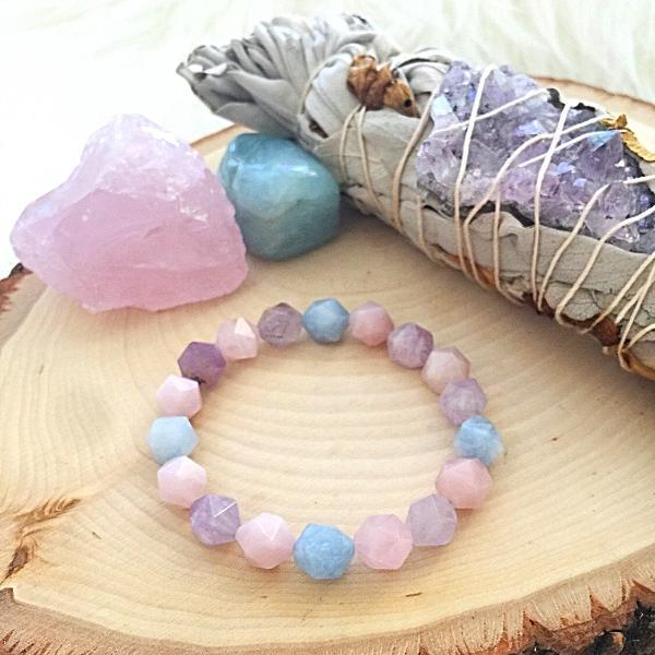 Handmade and Natural Yoga Bracelets Glow Designs Multi Colored Chalcedony Yoga/Meditation Mala Bracelet