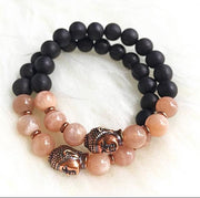 Handmade and Natural Yoga Bracelets Glow Designs Peach Moonstone & Aromatic Agar Wood Yoga/Meditation Mala Bracelet