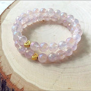 Handmade and Natural Yoga Bracelets Glow Designs Rose Angel Aura Quartz Yoga/Meditation Mala Bracelet