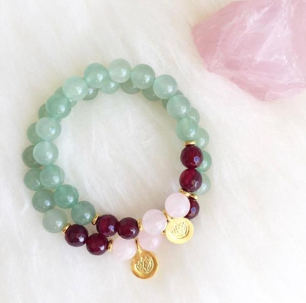 Handmade and Natural Yoga Bracelets Glow Designs Rose Quartz, Watermelon Tourmaline, and Green Aventurine Yoga/Meditation Mala Bracelet