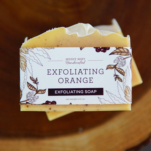 Handmade and Natural Soap Muddy Mint Exfoliating Orange Soap